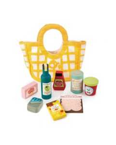 Grocery Callico Bag with Wooden Accessories