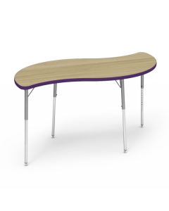 Virco Leaf 1500L x 750W Table with Adjustable Legs 425 x 625mmH Purple Edging