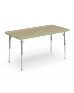 Virco Rectangle 1200L x 600W Table with Adjustable Legs 425 x 625mmH Green Apple Edging
