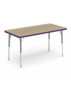 Virco Rectangle 1200L x 600W Table with Adjustable Legs 425 x 625mmH Purple Edging