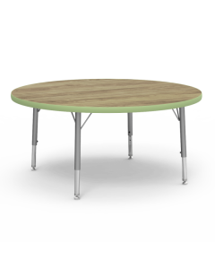 Virco Round 1050mm Diameter Table with Adjustable Legs 425 x 625mmH Green Apple Edging
