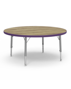 Virco Round 1050mm Diameter Table with Adjustable Legs 425 x 625mmH Purple Edging